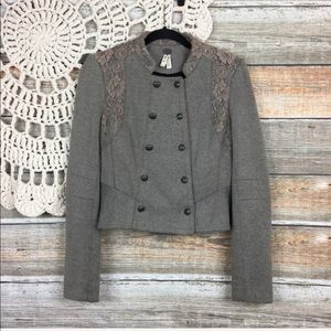 Free People Lace Overlay Victorian Cropped Jacket